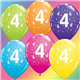 "Age 4 Pack of 6 11"" assorted coloured balloons"