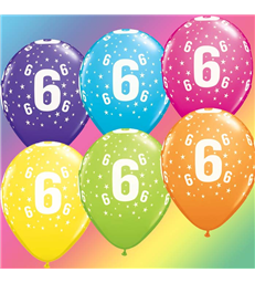 "Age 6 Pack of 6 11"" assorted coloured balloons"