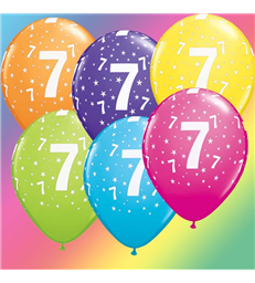 """Age 7 Pack of 6 11"""" assorted coloured balloons"""