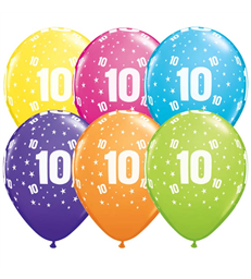 """Age 10 Pack of 6 11"""" assorted coloured balloons"""