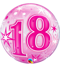 "18 Pink Starburst Sparkle 22"" balloon"