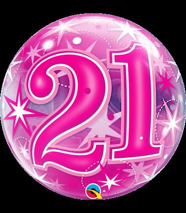 "21 Pink Starburst Sparkle 22"" balloon"