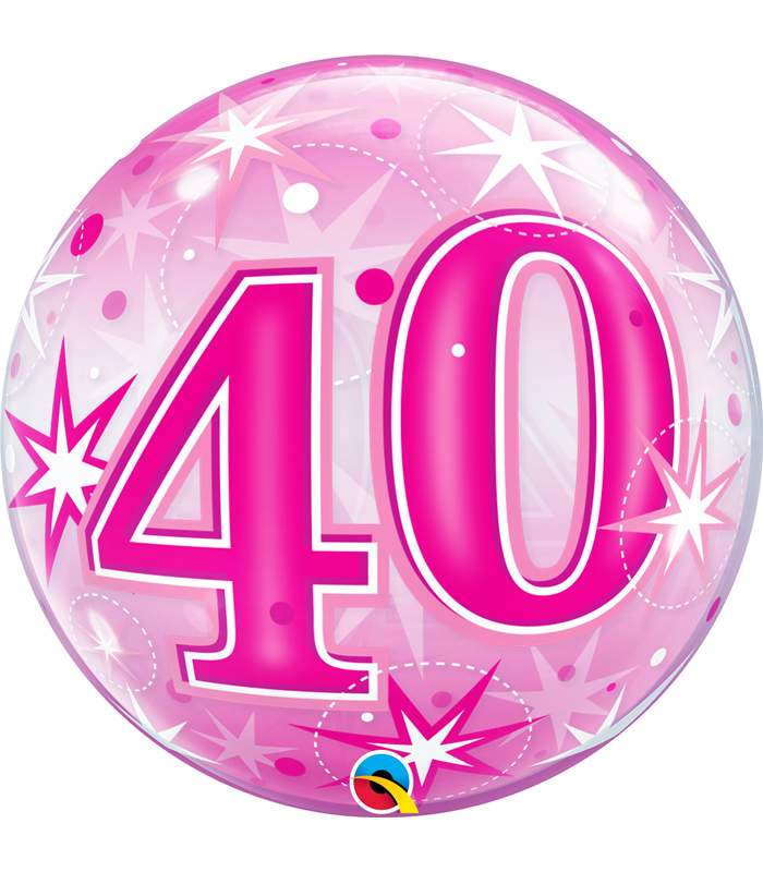 "40 Pink Starburst Sparkle 22"" balloon"