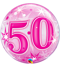 "50 Pink Starburst Sparkle 22"" balloon"
