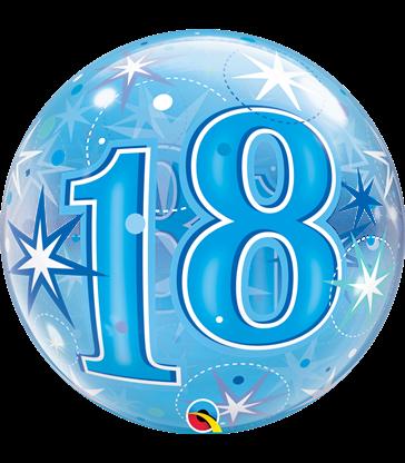 "18 Blue Starburst Sparkle 22"" balloon"