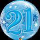 "21 Blue Starburst Sparkle 22"" balloon"