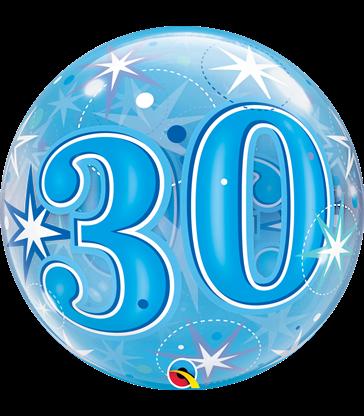 "30 Blue Starburst Sparkle 22"" balloon"