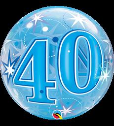 "40 Blue Starburst Sparkle 22"" balloon"