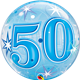 "50 Blue Starburst Sparkle 22"" balloon"