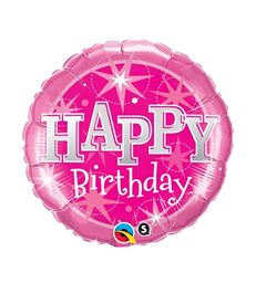 "Birthday Pink Sparkle 18"" balloon"