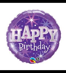 """Birthday Purple Sparkle 18"""" balloon"""