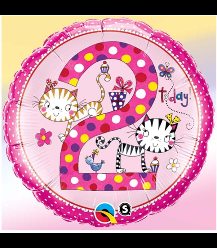 """Rachel Ellen - Age 2 Kitten Polka Dots 18"""" balloon"""