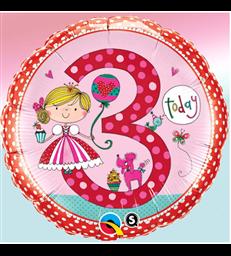"Rachel Ellen - Age 3 Princess Polka Dots 18"" balloon"