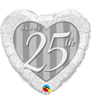 "Happy 25th Damask Heart 18"" balloon"
