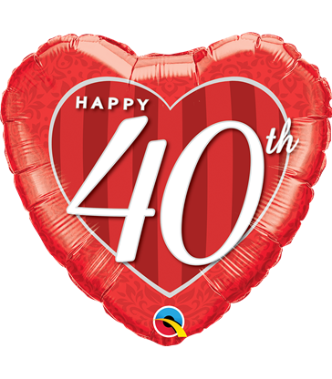 "Happy 40th Damask Heart 18"" balloon"