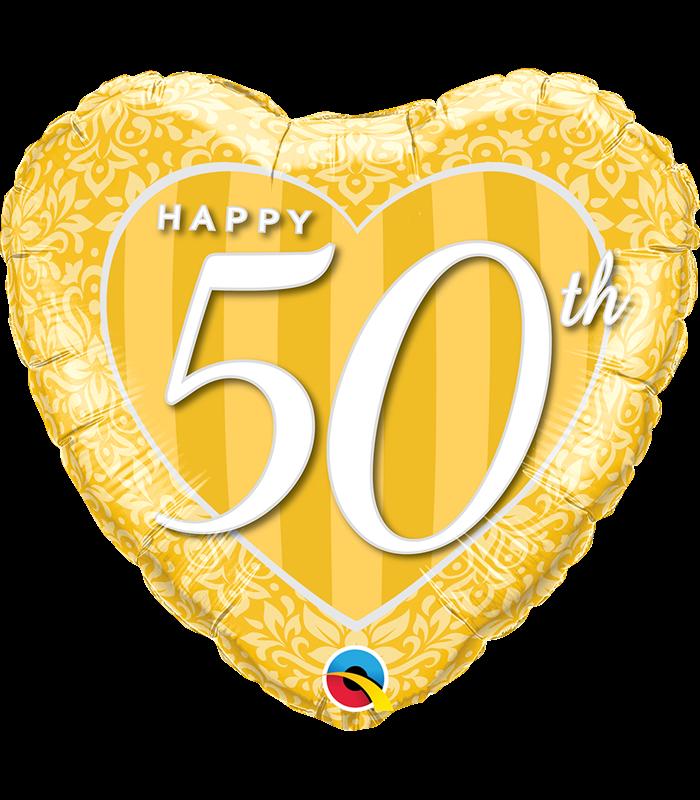 "Happy 50th Damask Heart 18"" balloon"
