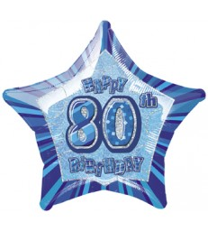 20'' PKG BLUE STAR PRISM 80 FOIL BALLOON