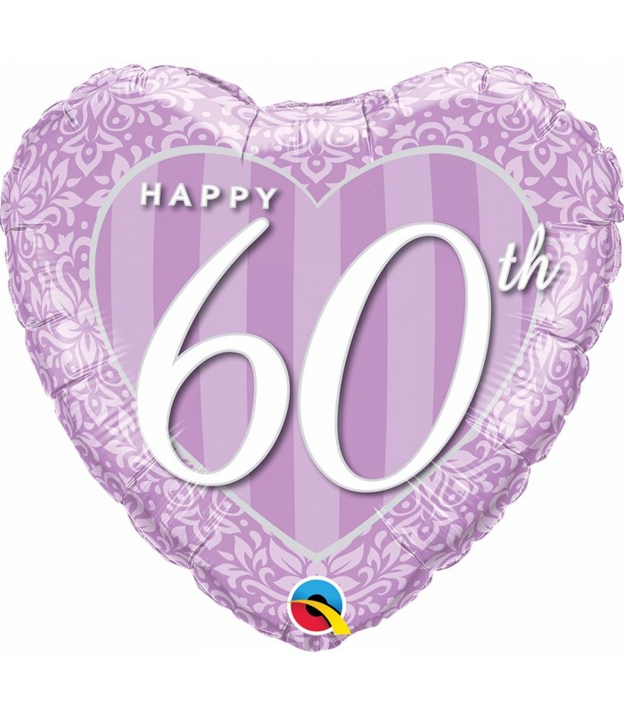 "Happy 60th Damask Heart 18"" balloon"