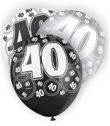 6 12'' BLACK GLITZ BALLOONS -40