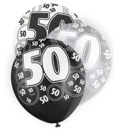 6 12'' BLACK GLITZ BALLOONS -50