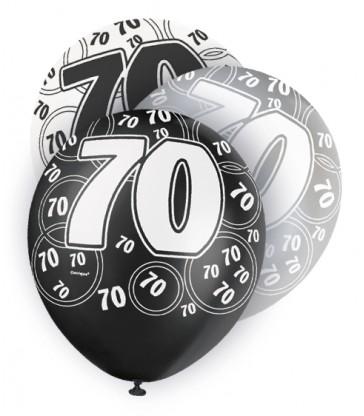 6 12'' BLACK GLITZ BALLOONS -70