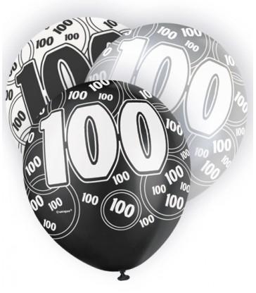 6 12'' BLACK GLITZ BALLOONS-100