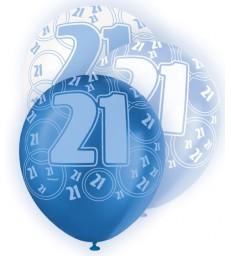 6 12'' BLUE GLITZ BALLOONS -21