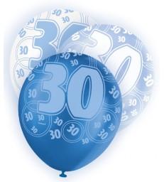 6 12'' BLUE GLITZ BALLOONS -30