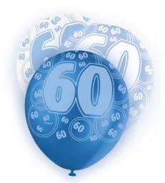 6 12'' BLUE GLITZ BALLOONS -60