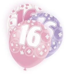 6 12'' PINK GLITZ BALLOONS -16