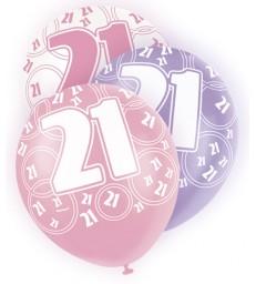 6 12'' PINK GLITZ BALLOONS -21