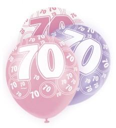 6 12'' PINK GLITZ BALLOONS -70
