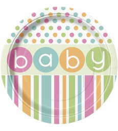 """8 PASTEL BABY SHOWER 9"""" PLATES"""