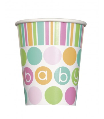 8 PASTEL BABY SHOWER 9OZ CUPS