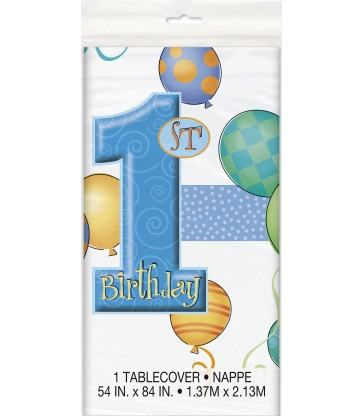 FIRST BIRTHDAY BLUE TABLECOVER PLASTIC