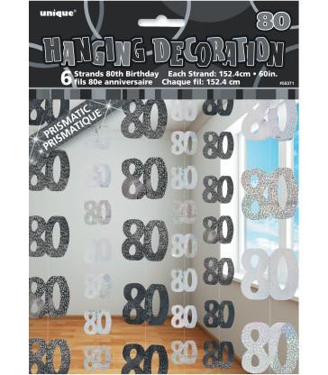 6 GLITZ BLACK/SILVER 80 HANGING DECORS