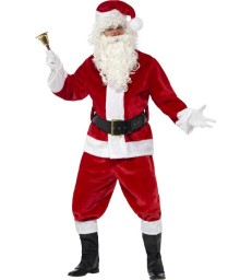 Deluxe Santa Costume & Hat, Red