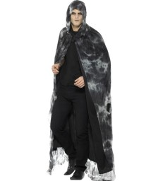Deluxe Spellbound Decayed Cape, Black & Grey