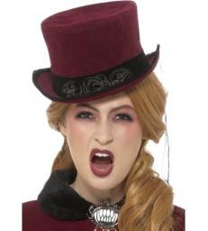 Deluxe Victorian Vampiress Hat, Burgundy