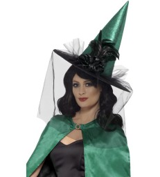 Deluxe Witch Hat, Green & Black