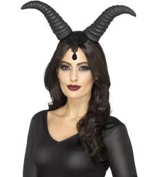 Demonic Queen Horns, on Headband, Black