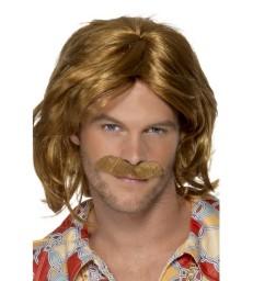 70s Super Trouper Wig & Moustache, Brown
