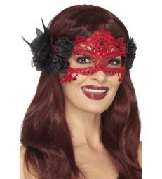 Embroidered Lace Filigree Devil Eyemask, Red & Bla