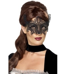 Embroidered Lace Filigree Swirl Eyemask, Black