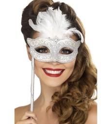 Baroque Fantasy Eyemask, Silver