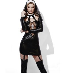 Fever Role-Play Nun Wet Look Costume, Black