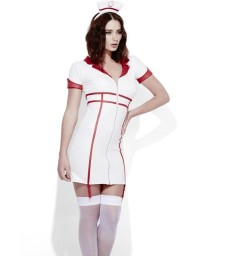Fever Role-Play Nurse Wet Look Costume, White