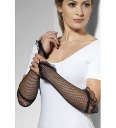 Fingerless Fishnet Gloves Black, Black