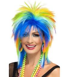 80s Rainbow Punk Wig, Multi-Coloured