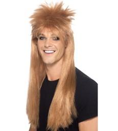 80s Rocker Mullet Wig, Brown